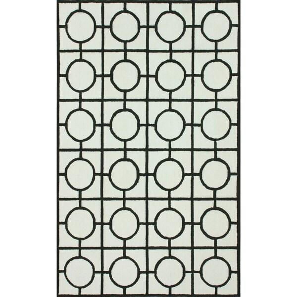 nuLOOM Hand-Hooked Circle Box Lattice Ivory Rug (5' x 8') - 5' x 8'