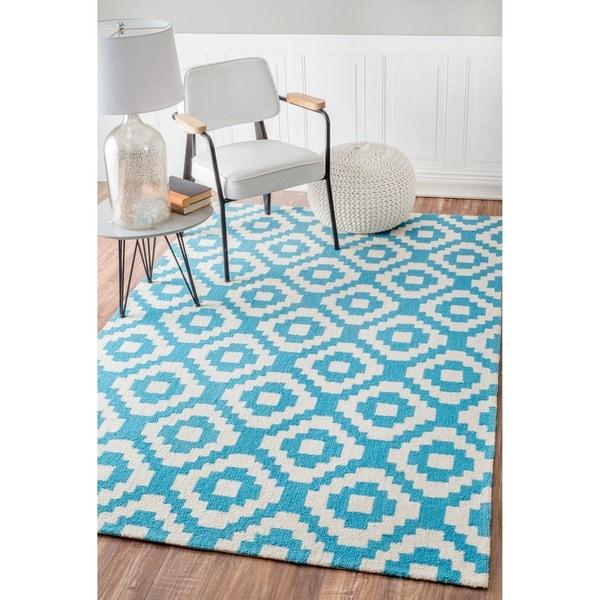Shop NuLOOM Teal Handmade Wool Pixel Trellis Area Rug