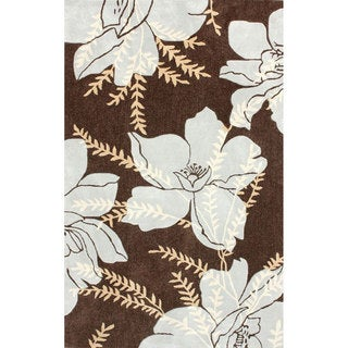 nuLOOM Handmade Modern Magnolia Flower Brown  Rug (5' x 8')