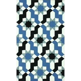 nuLOOM Handmade Wool Modern Moroccan Trellis Blue Rug (5' x 8')
