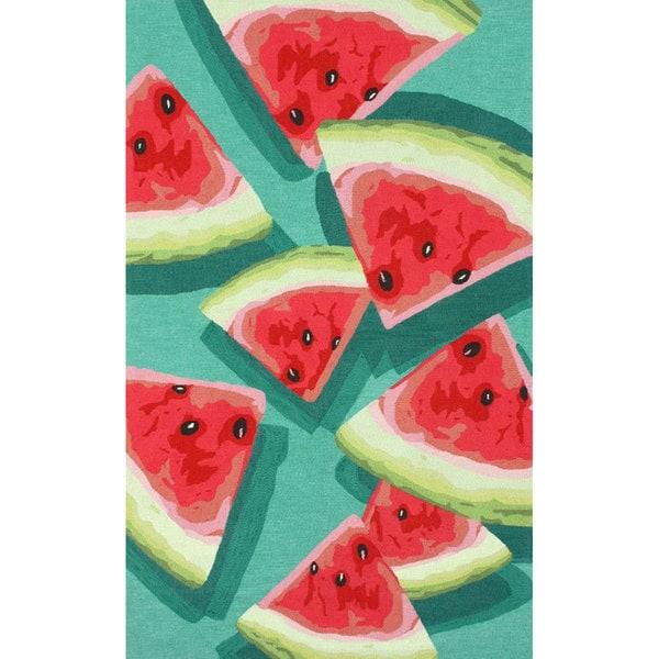 NuLOOM Handmade Novelty Kitchen Watermelon Teal Rug (5u0026#x27; ...