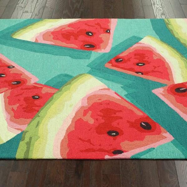NuLOOM Handmade Novelty Kitchen Watermelon Teal Rug (5u0027 X 8u0027)   Free  Shipping Today   Overstock.com   15656183