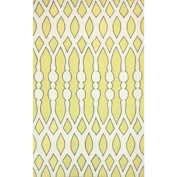 nuLOOM Handmade Wool Modern Aztec Trellis Yellow Rug - 7'6 x 9'6