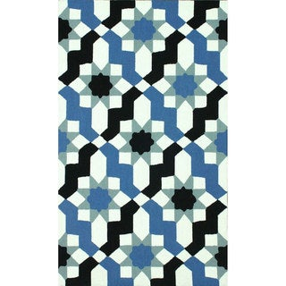 nuLOOM Handmade Wool Modern Moroccan Trellis Blue Rug (7'6 x 9'6)