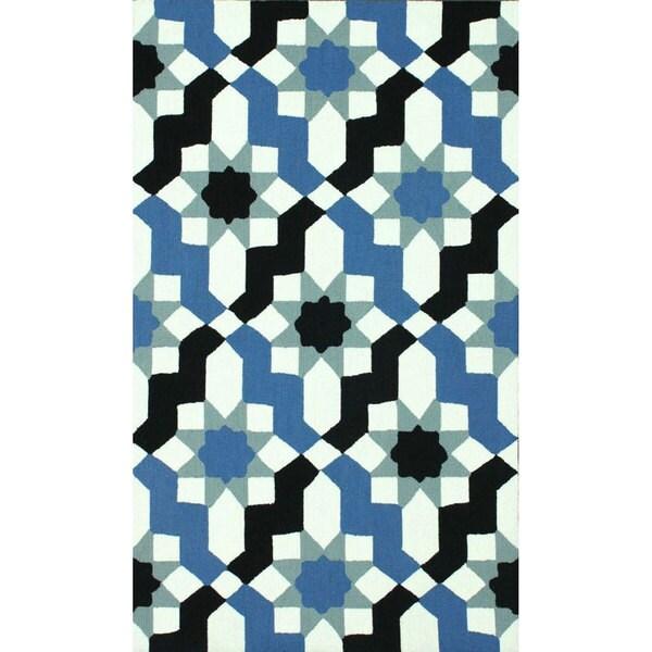 nuLOOM Handmade Wool Modern Moroccan Trellis Blue Rug - 7'6 x 9'6