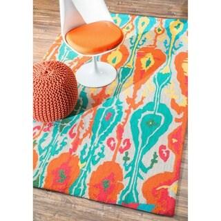 nuLOOM Handmade Wool Modern Ikat Multi Rug (7'6 x 9'6)
