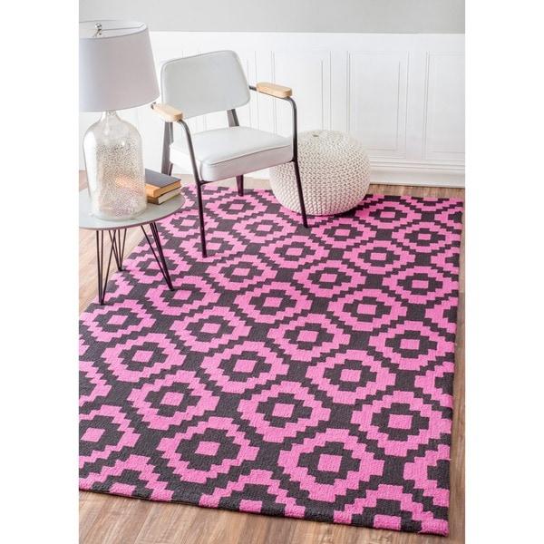 nuLOOM Handmade Wool Pixel Trellis Pink Rug (7'6 x 9'6) - 7'6 x 9'6
