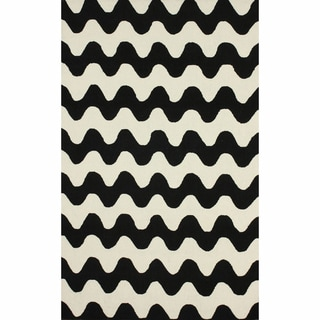 nuLOOM Handmade Wool Modern Waves Black Rug (7'6 x 9'6)