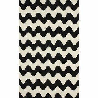nuLOOM Handmade Wool Modern Waves Black Rug (7'6 x 9'6)