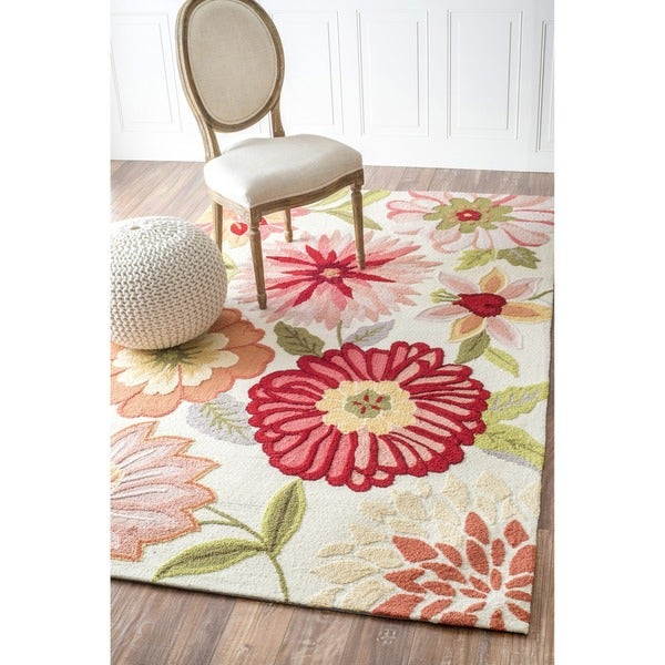 grey and white polka dot rug