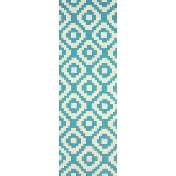 NuLOOM Handmade Wool Pixel Trellis Teal Runner Rug (2'6 X