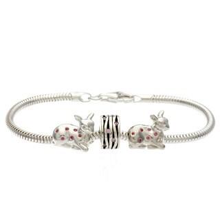 Sterling Silver Pink Crystal Deer Bead Bracelet