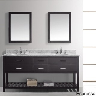 Caroline Estate 72-Inch Double Vanity White Marble Top Mirror