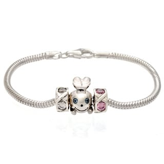 Sterling Silver Blue, Pink and Clear Crystal 'Bead Guy' Charm Bracelet