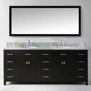 Caroline Parkway 78-inch Double Vanity White Carrara Marble Top