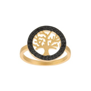 Gold over Sterling Silver Black Cubic Zirconia Tree Ring