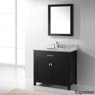 Virtu USA Caroline 36-Inch Italian Carrara White Marble Single Sink Bathroom Vanity Set
