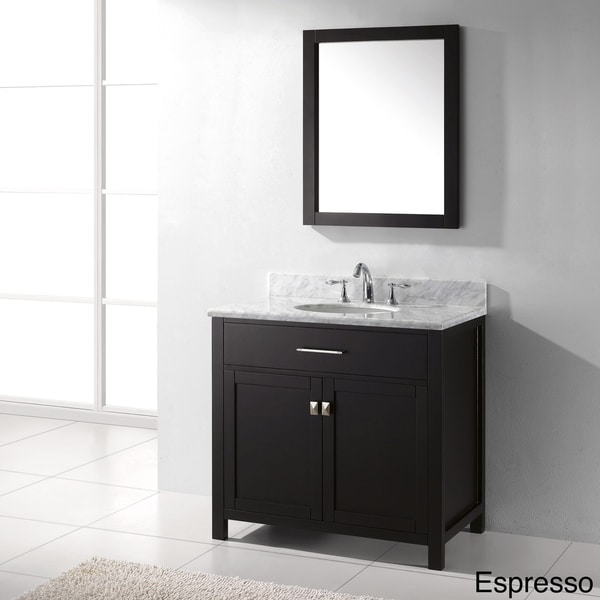 Virtu USA Caroline 36 Inch Italian Carrara White Marble Single Sink  Bathroom Vanity Set