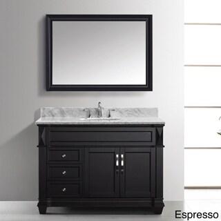 Virtu USA Victoria 48-inch Italian Carrara White Marble Single Sink Bathroom Vanity Set
