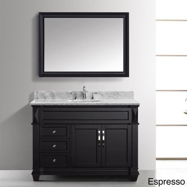 Virtu usa victoria 48 inch italian carrara white marble Virtu usa caroline 36 inch single sink bathroom vanity set