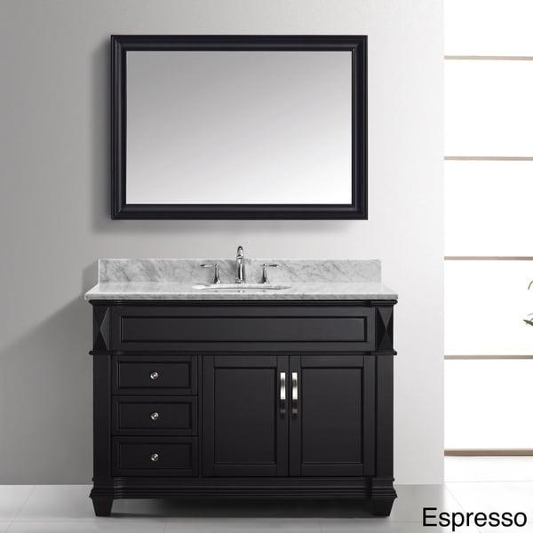 Virtu usa victoria 48 inch italian carrara white marble Virtu usa caroline 36 inch single sink bathroom vanity set