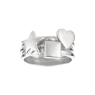 Sterling Silver Star, Heart and Square 3-piece Ring Set