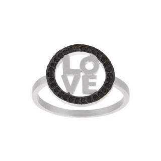 Sterling Silver Black Cubic Zirconia 'Love' Ring