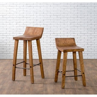 Kosas Home Tam Rustic Brown Elm Wood and Iron Low Back 24-inch Counter Stool