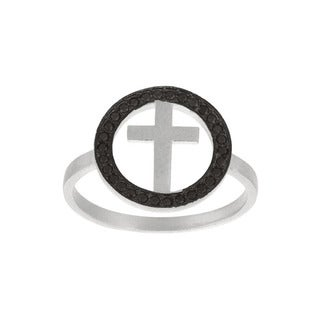 Sterling Silver Black Cubic Zirconia Cross Ring