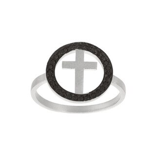 Sterling Silver Black Cubic Zirconia Cross Ring