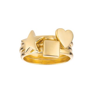 Gold over Sterling Silver Star, Heart and Square 3-piece Ring Set