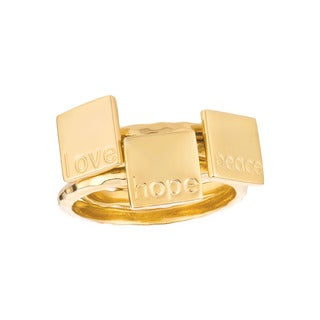 Gold over Sterling Silver Peace, Love and Hope 3-piece Ring Set