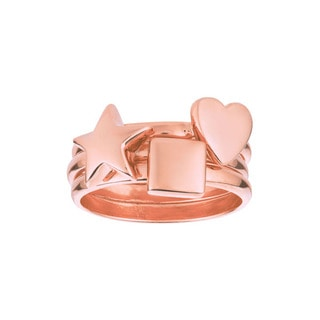 Rose Gold over Sterling Silver Star, Heart and Square 3-piece Ring Set
