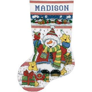 Snowman Fun Stocking Counted Cross Stitch Kit - 17 Long 14 Count