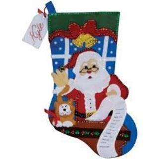 Santa's List Stocking Felt Applique Kit - 18 Long