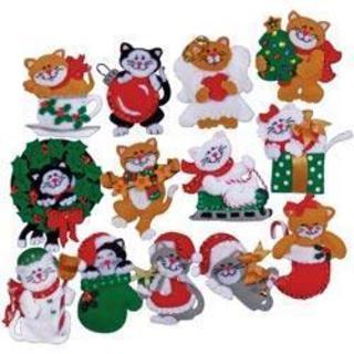 Lots Of Kittens Ornaments Felt Applique Kit - 3 X4  Set Of 13