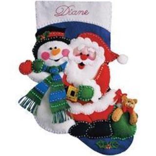 Santa & Snowman Stocking Felt Applique Kit - 16 Long