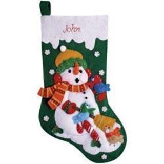 Snowman With Birds Stocking Felt Applique Kit - 16 Long