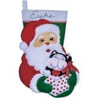 Santa & Kitten Stocking Felt Applique Kit - 16  Long