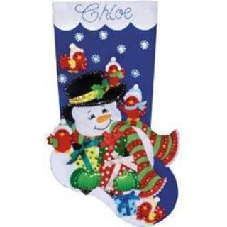 Snowman & Cardinals Stocking Felt Applique Kit - 18 Long