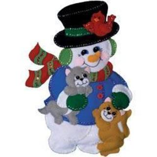 Snowman With Cats Wall Hanging Felt Applique Kit - 13 X18