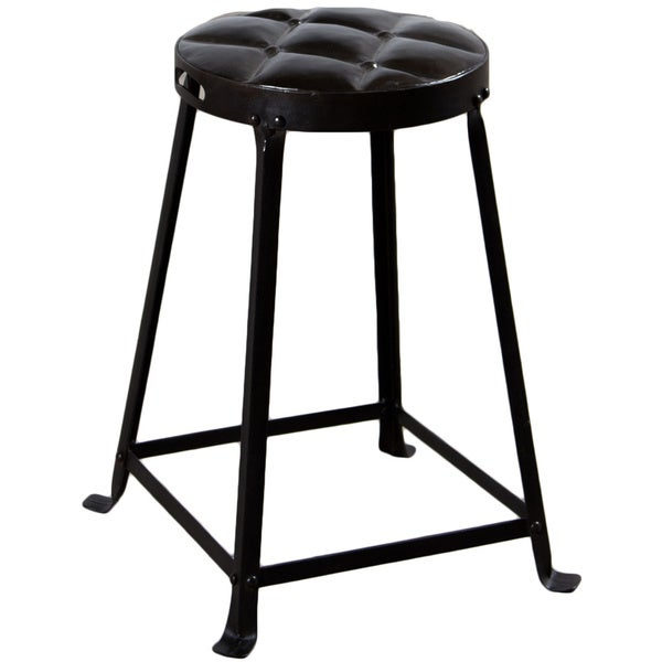 Shop Handmade Old Iron Lacquer 21 Inch Tufted Top Metal Stool India