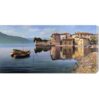 Global Gallery Adriano Galasso 'Paese sul lago' Stretched Canvas