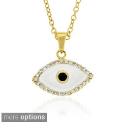 Dolce Giavonna Sterling Silver CZ and Enamel Evil Eye Necklace