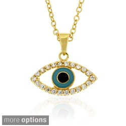 Dolce Giavonna Sterling Silver CZ and Enamel Evil Eye Necklace