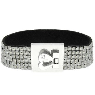 Dolce Giavonna Silvertone and Resin Cubic Zirconia Heart Lock Bangle (More options available)