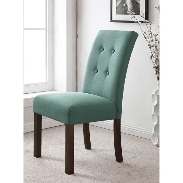 Dining Chair Set 2 Pair Accent Tufted Kitchen Modern Side: HomePop 4-button Tufted Aqua Textured Parson Chair (Set Of