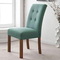 HomePop 4-button Tufted Aqua Textured Parsons Chair (Set of 2)