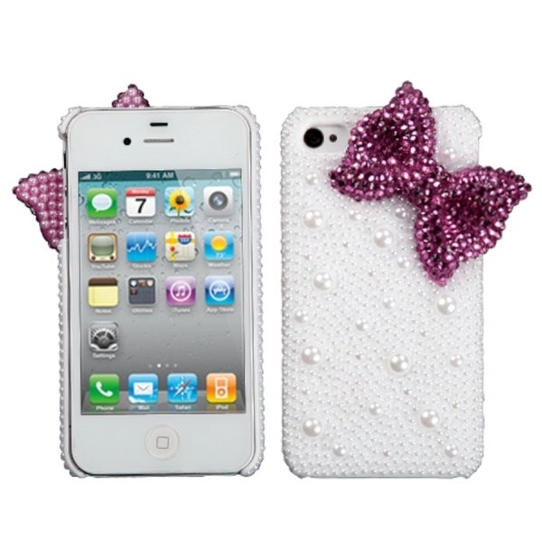 INSTEN Hot Pink Bow Pearl 3D Diamante Phone Case Cover for Apple iPhone 4S/ 4