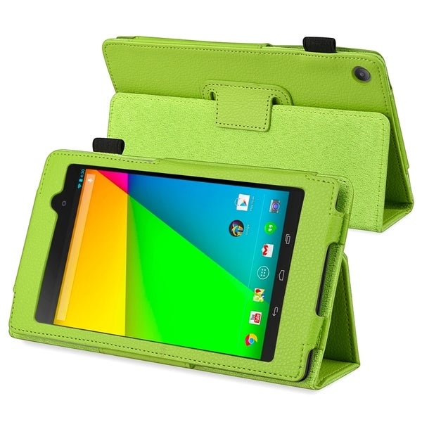 INSTEN Green Leather Phone Case Cover with Stand for Google New Nexus 7